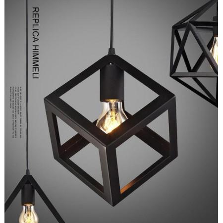 Lampa Metalowa Kopniety Kwadrat Loft Metalowa Wisząca