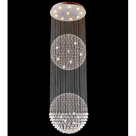Lampa kryształowa wisząca 200 cm nad schody hol kule design 2 m chrom prawdziwy kryształ