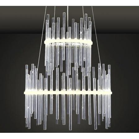 Żyrandol 2 Ring LED Szkło Art Deco Glass 40cm Ledowy Okręgi lampa wisząca