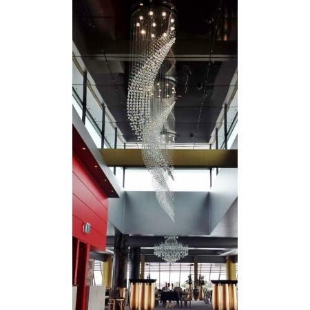 Lampa Kryształowa 260cm nad Schody Kaskada Gigantyczny Rozmiar