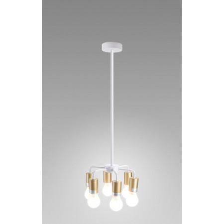 Lampa sufitowa wisząca INGA II miedziana biała loft 120 cm