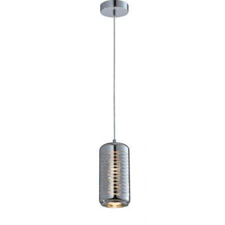 Lampa sufitowa wisząca SINA II srebrna zdobione szkło pojedyncza 120 cm