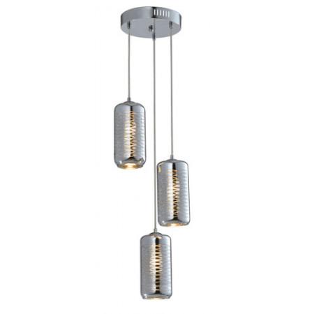 Lampa sufitowa wisząca SINA II srebrna zdobione szkło potrójna 120 cm