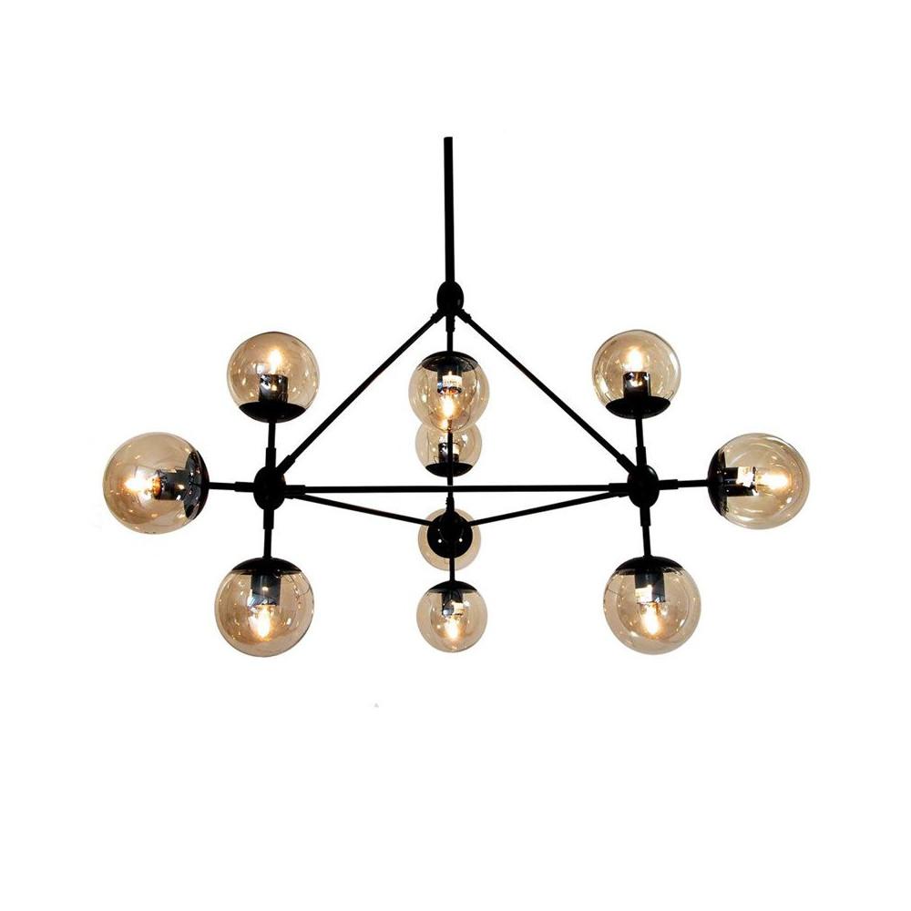 Lampa wisząca ASTRIFER 10 bursztynowo czarna 90 cm metal szkło loft