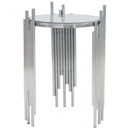 Stolik Srebrny Pomocnik Chromowany Rurki Metalowe Glamour Mini Stół