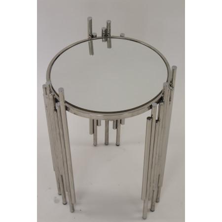 Stolik Kawowy Srebrny Chromowany Rurki Metalowe Glamour Mini Stół