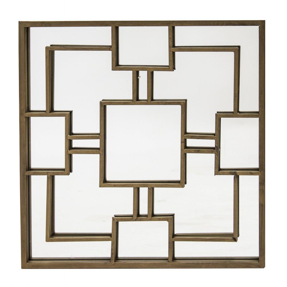 Lustro Art Deco Styl 40cm Kwadratowe Ciemny Mosiądz Crystal Home