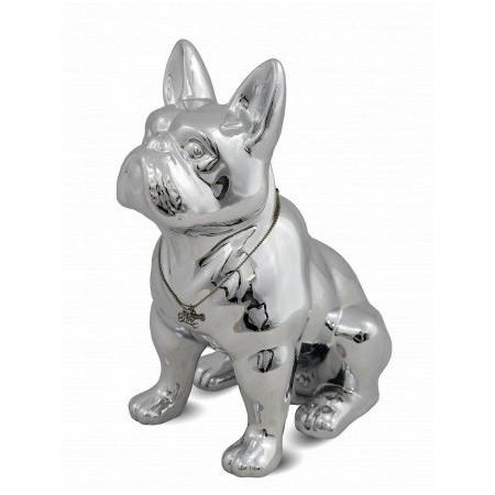 Figurka Pies Buldog Duża 32cm Srebrny Ceramiczna Chrom