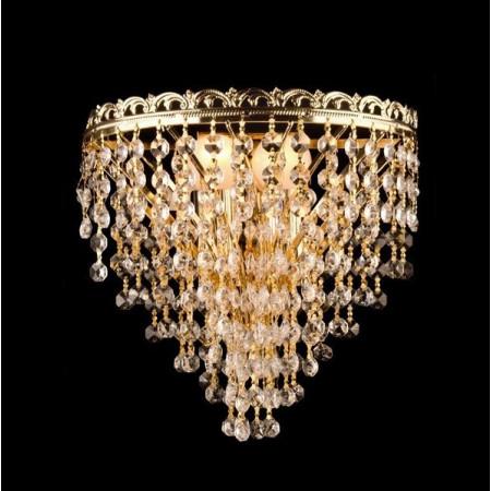 Kinkiet Kryształowy Gold Złoty Podwójna Żarówka Art Deco