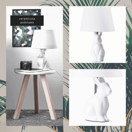 Lampka Lampa Nocna Rabbit Ceramiczna Tekstylny Abażur