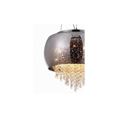 Kryształowy Żyrandol Lucci 48cm Lampa Kryształowa Wisząca Chrom Osiem Ramion