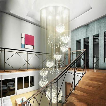 Lampa Kryształowa 400cm nad schody wisząca 13XGU10 kryształy